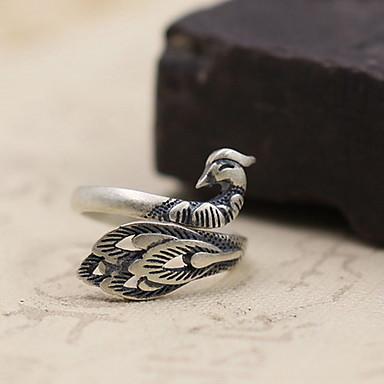 Ανδρικά Γυναικεία Δαχτυλίδι Κοσμήματα Ματ Προσαρμόσιμη Ανοικτό Ασήμι Στερλίνας Παγώνι Κοσμήματα Για Καθημερινά Causal