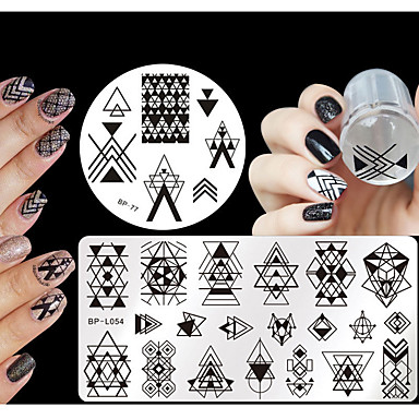 4 pcs Stamper & Scraper Stamping Kit Stamping Plate Template nail art Manicure Pedicure Fashion Daily / Silicone / Plastic / Steel