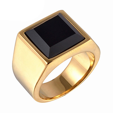 Ανδρικά Δαχτυλίδι Δακτύλιος Δήλωσης Χρυσό Ασημί Συνθετικοί πολύτιμοι λίθοι Τιτάνιο Ατσάλι Μοντέρνα Καθημερινά Causal Κοστούμια Κοσμήματα