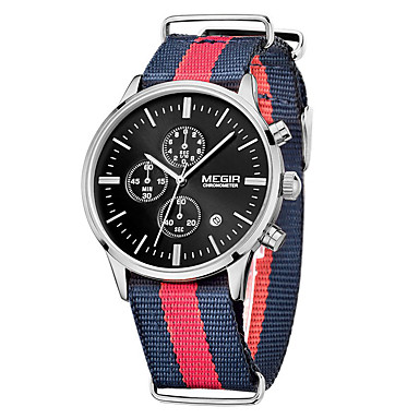 MEGIR Ανδρικά Αθλητικό Ρολόι Στρατιωτικό Ρολόι Ρολόι Φορέματος Μοδάτο Ρολόι Ρολόι Καρπού Χαλαζίας Ψηφιακό Ημερολόγιο Ύφασμα Μπάντα