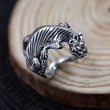 Erkek Kadın Yüzük Mücevher Ayarlanabilir Açık Som Gümüş Ejderha Mücevher Uyumluluk Günlük