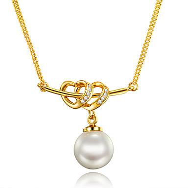 Naisten Heart Uniikki Heart Euramerican Riipus-kaulakorut Helmi Cubic Zirkonia Helmi Gold Plated 18K kulta Riipus-kaulakorut ,
