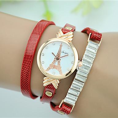 Damskie Sztuczny Diamant Zegarek Zegarek na bransoletce Modny Kwarcowy sztuczna Diament Skóra Pasmo Wieża Eiffla Czarny Biały Czerwony