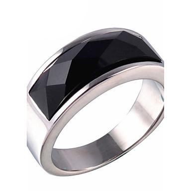 Duże pierścionki Pierscionek Onyks Agat Stal tytanowa Modny Gold Silver Biżuteria Codzienny Casual 1szt