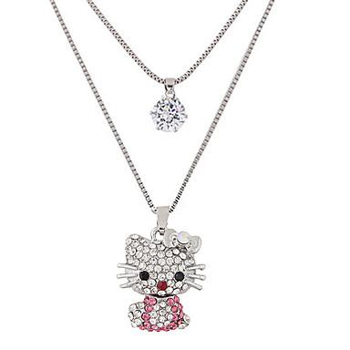 للمرأة قط حجر الراين تقليد الماس قلائد الحلي  -  اسلوب لطيف موضة طبقة مزدوجة حيوان فضي قلادة من أجل حزب يوميا