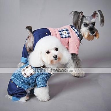 Kat Hond Jumpsuits Hondenkleding Casual/Dagelijks Geruit Blauw Roze Kostuum Voor huisdieren