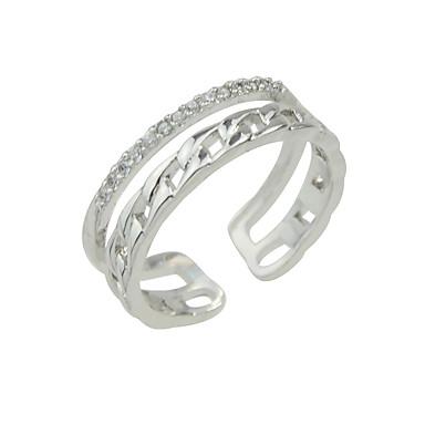 للمرأة خاتم ذهبي فضي وردي حجر الراين سبيكة فضفاض مجوهرات