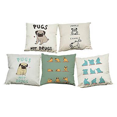5 szt Bielizna Naturalne / ekologiczne Pokrywa Pillow Poszewka na poduszkę,Stały TexturedPrzypadkowy Retro Tradycyjny / Classic Wałek