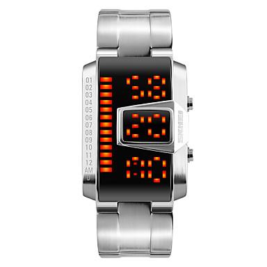 Erkek Moda Saat Bilek Saati Dijital saat Dijital LED Takvim Su Resisdansı Alaşım Bant Havalı Siyah Gümüş Siyah Gümüş