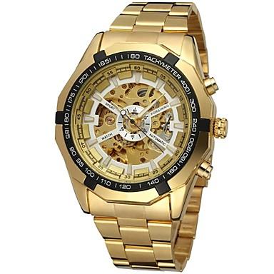 저렴한 남성용 시계-FORSINING 남성용 스켈레톤 시계 손목 시계 기계식 시계 오토메틱 셀프-윈딩 스테인레스 스틸 골드 중공 판화 아날로그 사치 패션 - 골드 화이트 블랙