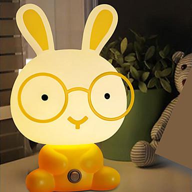 Oldukça sevimli tavşan karikatür hayvan hediyeler için en iyi ışık yatak masa lambası gece lambası uyku gece lambası bebek odası açtı