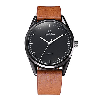 V6 Bărbați Ceas Elegant  Ceas La Modă Japoneză Quartz Rezistent la Apă Piele Bandă Casual Cool Negru Maro