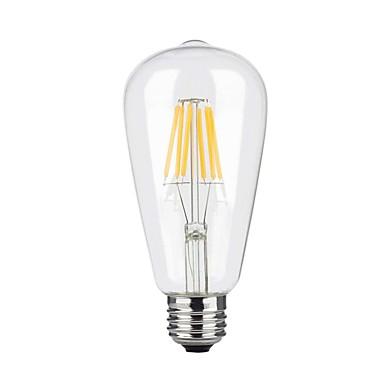 1pc 6W 600 lm E26/E27 LED Filaman Ampuller ST64 6 led COB Kısılabilir Sıcak Beyaz AC 110-130V