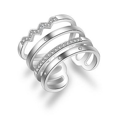 Damskie Posrebrzany / Stop Pierścionki na środek palca / Band Ring - Modny Silver Pierścień Na Ślub / Impreza / Codzienny