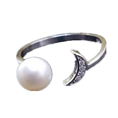 Dame Inel Imitație de Perle Zirconiu Cubic Ajustabile Deschis Imitație de Perle Zirconiu Cross Shape Bijuterii Pentru Zilnic Casual