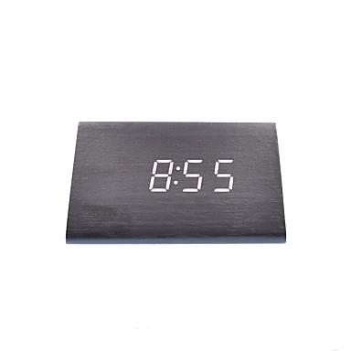 raylinedo® أحدث الأبيض تصميم الأزياء الخشب الأسود أدى خشبي ساعة المنبه الرقمية -Time تاريخ عرض درجة الحرارة الضوء - الصوت واللمس تفعيلها