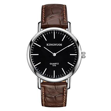 Erkek Moda Saat Bilek Saati Quartz Deri Bant Havalı Günlük Siyah Kahverengi