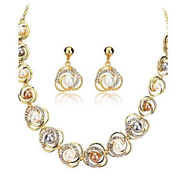 نساء مجموعة مجوهرات حجر الراين لؤلؤ تقليدي أوروبي زفاف حزب يوميا اللؤلؤ 18K الذهب سبيكة 1 قلادة 1 زوج من الأقراط