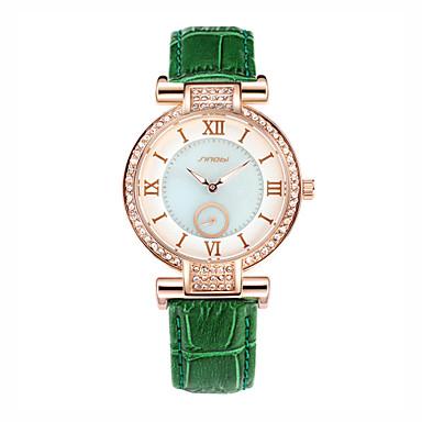 Dames Gesimuleerd Diamant Horloge Modieus horloge Kwarts Waterbestendig Leer Band Groen