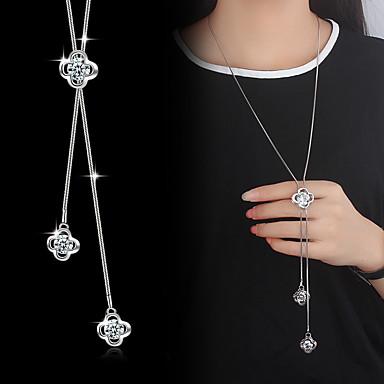 Imitație de Perle Zirconiu Cubic Argilă Coliere cu Pandativ Y-Coliere - De Bază Modă Floare Argintiu Coliere Pentru Nuntă Petrecere