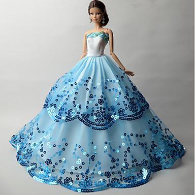 Juhla/ilta Mekot varten Barbie-nukke Organza Paljetti Leninki varten Tytön Doll Toy
