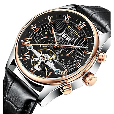 cheap Men's Watches-KINYUED Men's Skeleton Watch Wrist Watch Mechanical Watch Automatic self-winding Leather Brown 30 m Water Resistant / Waterproof Calendar / date / day Chronograph Analog Luxury Classic Casual Dress
