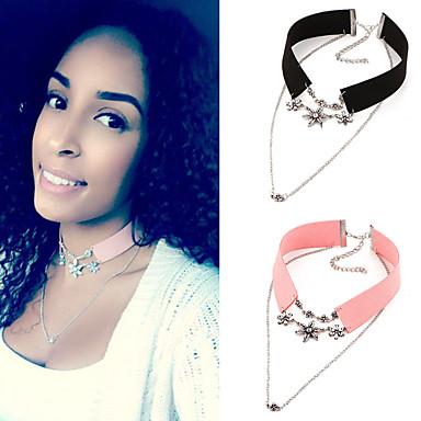 Pentru femei Cristal Perle Cristal Piele Coliere Choker Coliere cu Pandativ tatuaj cravată  -  Stil Tatuaj Vintage Boem Roz Negru Coliere