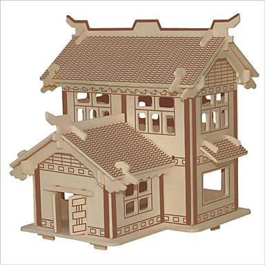 puzzle-uri Puzzle Lemn Blocuri de pereti DIY Jucarii Clădire celebru Arhitectura Chineză Navă Casă 1 Lemn CristalJucărie de Construit &