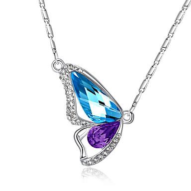 Pentru femei Fluture Cristal Cristal Ștras Coliere cu Pandativ  -  Iubire Elegant Modă Animal Aripi / Pene Roz Albastru Deschis Verde