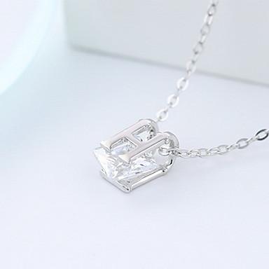 billige Mode Halskæde-Dame Halskædevedhæng Smykker Krystal Firkantet form Sølv Mode Indledende smykker Smykker Til Daglig Afslappet