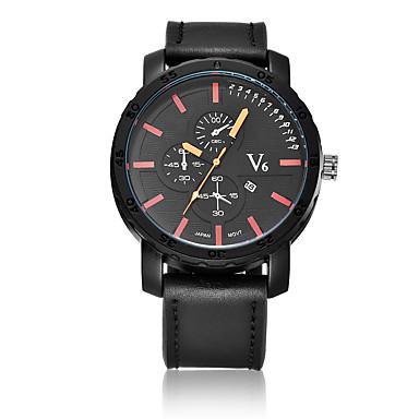 V6 Erkek Moda Saat Quartz / PU Bant Günlük Siyah Kahverengi