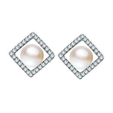 Κουμπωτά Σκουλαρίκια Απομίμηση Μαργαριτάρι Ασήμι Στερλίνας Απομίμηση Μαργαριταριού Άσπρο/Ασημί Κοσμήματα Για Καθημερινά Causal 1 ζευγάρι