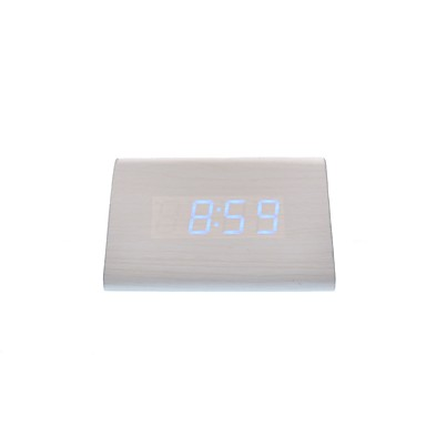 raylinedo® ostatni biały drewno projektowanie mody niebieskie led drewniany zegar cyfrowy Alarm -time data temperatury wyświetlacz - głos