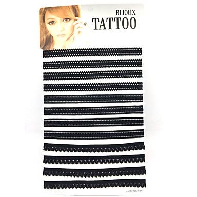 Ενιαία Δέσμη Τατουάζ Βασικό Σέξι Multi-τρόπους Wear Χειροποίητο Σετ Κοσμημάτων Κολιέ Τσόκερ πολυεπίπεδη Κολιέ Cubic Zirconia Δαντέλα Κράμα