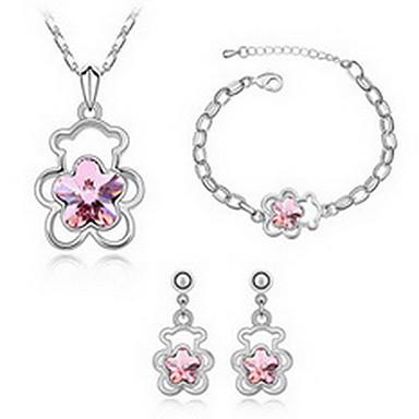 Biżuteria 1 Naszyjnik 1 parę kolczyków 1 Bransoletka Kryształ Impreza Stop 1set Damskie Czerwony Zielony Różowy Błękitnozielony Regency