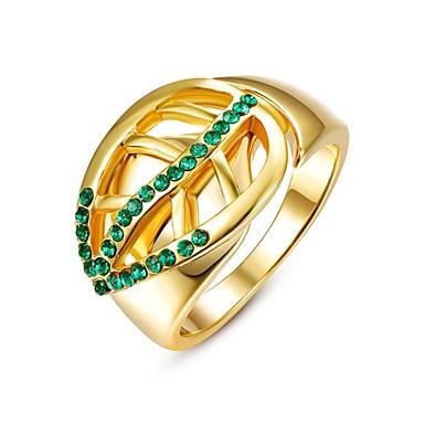 عصابة مكعب زركونيا يوميا فضفاض مجوهرات سبيكة زركون مطلية بالذهب نساء خاتم 1PC,8 ذهبي أصفر