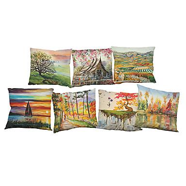 set de 7 lenjerie de peisaj peisaj pictura squarenordic acoperă pernute (18