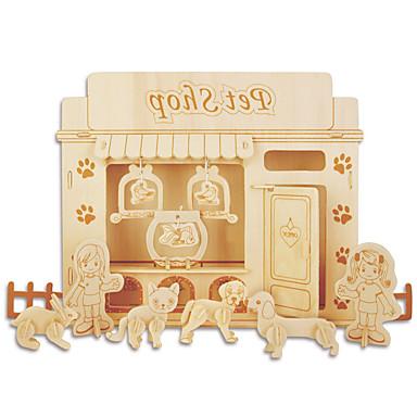 Puzzle Zestaw DIY Klocki Zabawki 3D Zabawka edukacyjna Puzzle Drewniane puzzle Cegiełki DIY Zabawki Meble 1 Drewno Złoty Model / klocki