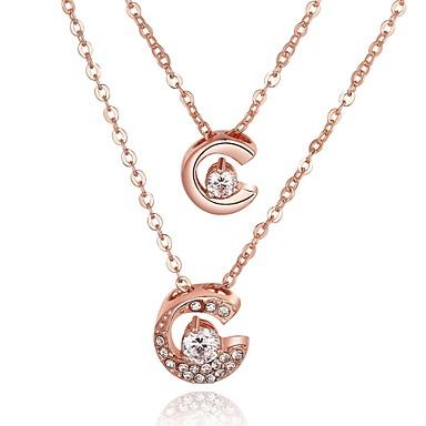 للمرأة بديع مكعب زركونيا زركون تصفيح بطلاء الفضة مطلية بالذهب قلائد الحلي قلادات السلسلة  -  مخصص هندسي تصميم فريد دائري Circle Shape