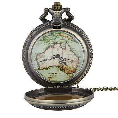 Zegarek kieszonkowy Zegarek na naszyjniku Kwarcowy Stop Pasmo Postarzane Mapa Świata Wzorzec Bronz