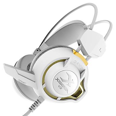 XIBERIA V3+ فوق الأذن عقال سلكي Headphones ديناميكي بلاستيك الألعاب سماعة عزل الضوضاء مع ميكريفون مع التحكم في مستوى الصوت مضيء سماعة