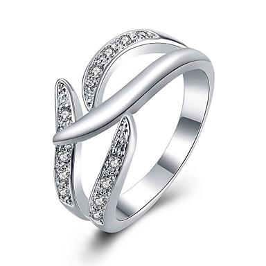 Yüzükler Günlük Mücevher Zirkon Bakır Gümüş Kaplama Yüzük 1pc,7 8 Gümüş