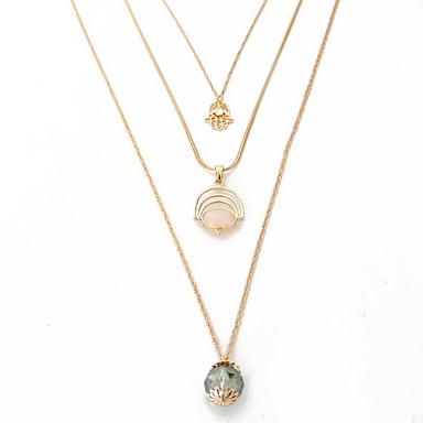 Kadın Gerdanlıklar Uçlu Kolyeler Mücevher Mücevher Sentetik Taşlar alaşım Moda Kişiselleştirilmiş Euramerican Çoklu Katman Avrupa Mücevher