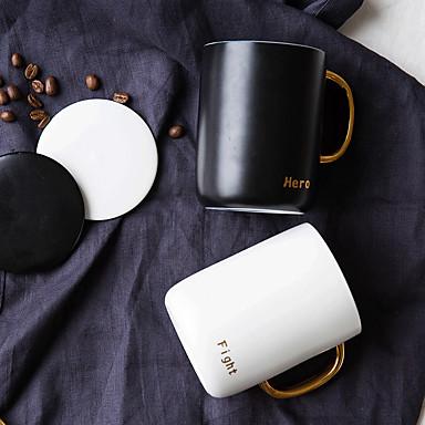 μινιμαλισμό drinkware 2 τεμ, 400 ml χυμό ζευγάρια διπλό χρώμα φλιτζάνια πορσελάνης γάλα κούπα καφέ, μαύρο + λευκό