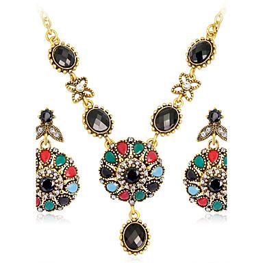 Zestawy biżuterii Luksusowy Vintage Artystyczny Impreza Specjalne okazje Syntetyczne kamienie szlachetne Żywica Kryształ górski Pozłacane