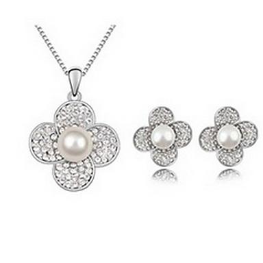 Damskie Zestawy biżuterii Perła Natura Perłowy Imitacja pereł Złota Perła Czarna Perła Stop Flower Shape 1 Naszyjnik 1 parę kolczyków Na