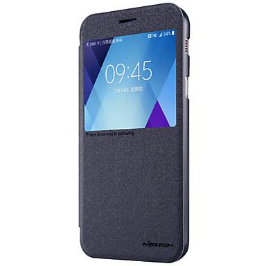 غطاء من أجل Samsung Galaxy A5(2017) A3(2017) مع نافذة قلب مثلج غطاء كامل للجسم لون الصلبة قاسي جلد PU إلى A3 (2017) A5 (2017) A7 (2017)