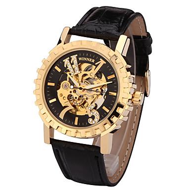 זול שעוני גברים-בגדי ריקוד גברים שעוני ספורט שעוני אופנה שעוני שמלה אוטומטי נמתח לבד עור אמיתי צבעוני 50 m מעצבים שְׁוֵיצָרִי אנלוגי קסם קלסי יום יומי - זהב