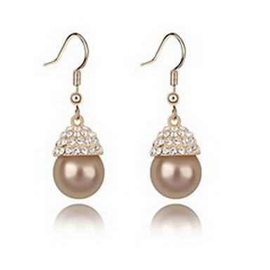 Vidali Küpeler İnci Doğa Moda İnci alaşım Mücevher Beyaz Siyah Koyu Mavi Gri Bakır Mücevher Için Günlük 1 çift