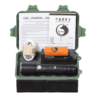U'King LED taskulamput LED 2000 lm 3 Tila Cree XM-L T6 Akulla ja laturilla Zoomable Säädettävä fokus Ladattava Telttailu/Retkely/Luolailu